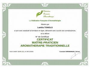 Attestation Maître-praticien en aromathérapie