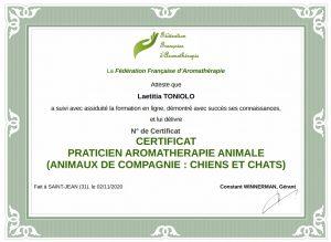 Attestation Praticien en aromatherapie pour chats et chiens