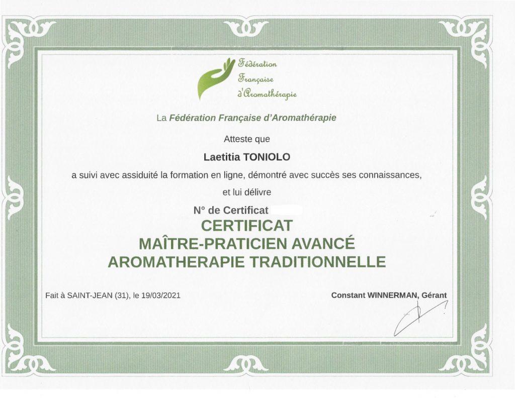 Attestation Maitre-praticien avancé en aromathérapie